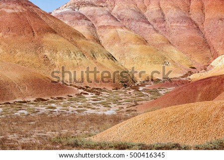 A view of the colorful mountains