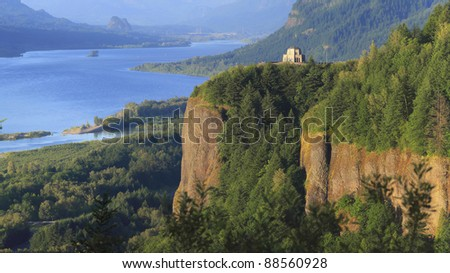 A view of the Columbia River Gorge & Crown point from the women's forum, Oregon. - stock photo