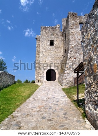 A view of the courtyard and main entrance gate to the famous Strecno Castle in summer. The Strecno Castle is a ruin of gothic castle located near Zilina town in northern Slovakia. - stock photo