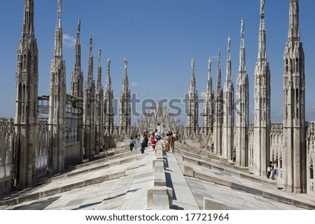 A view of the duomo, the gothic cathedral of Milan, Italy - stock photo