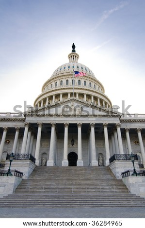A view of the east steps of the United States Capitol Building. - stock photo