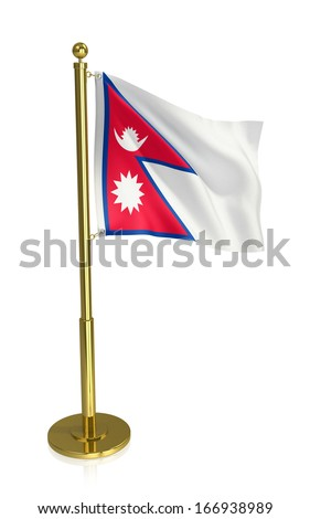 A view of the flag of Nepal isolated on white with clipping path. - stock photo