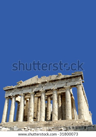 A view of the front facade of the Parthenon, Acropolis, Athens, against clear blue sky with copy space - stock photo