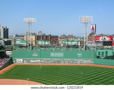 "A view of the ""Green Monster"" at  Fenway Park, Boston. - stock photo"