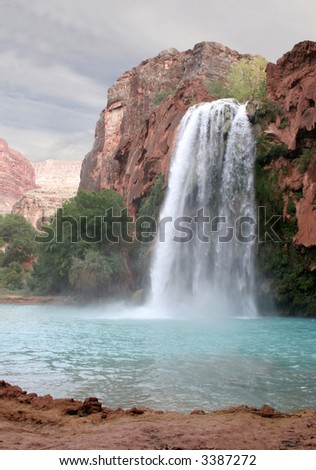 A view of the havasu waterfall within the grand canyon. - stock photo