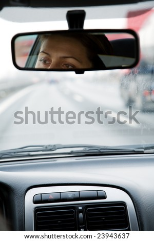 A view of the highway from the car - stock photo