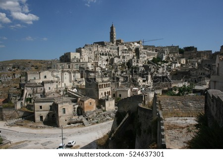A view of the historical centre of Matera, Puglia, Italy
