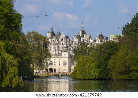 A view of the Horse Guards building over St. James's Park in London. - stock photo