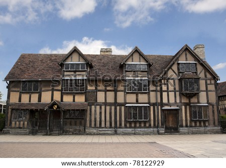 A view of the house that William Shakespeare was born in, Stratford-Upon-Avon, UK - stock photo