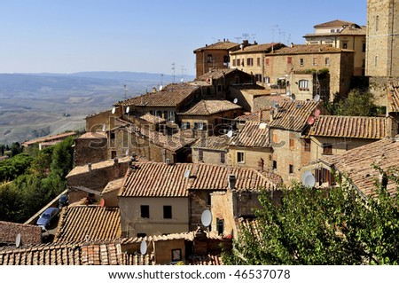 A view of the houses of Volterra, Tuscany, Italy. A panorama over the roofs . - stock photo