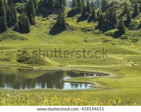 A view of the Kalbelesee lake surrounded by the Alpine mountains near village Schroecken in Bregenzerwald, region Vorarlberg, Austria - stock photo