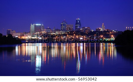 A view of the Kansas City Skyline Downtown - stock photo