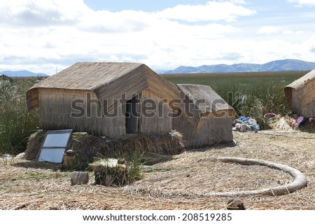 A view of the Lake Titicaca community islands on a sunny day.