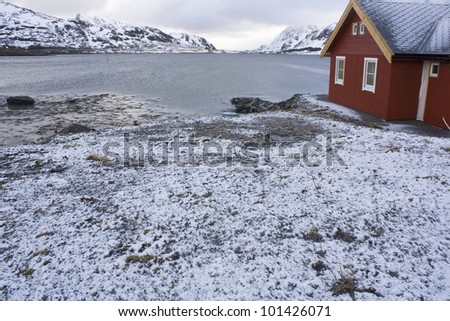 A view of the Lofoten Islands in Norway. - stock photo