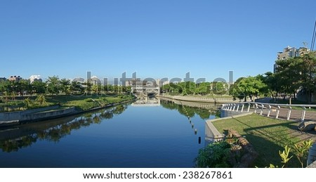 A view of the Love River Park in Kaohsiung, Taiwan