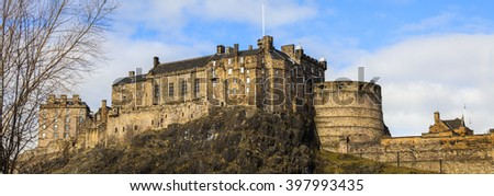 A view of the magnificent Edinburgh Castle in Edinburgh, Scotland. - stock photo
