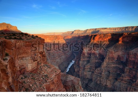 a view of the magnificent grand canyon at sunset - stock photo