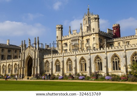 A view of the magnificent St. Johns College in Cambridge, UK. - stock photo
