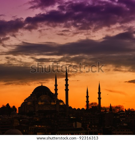 A view of the majestic Suleiman Mosque in Istanbul, Turkey. - stock photo