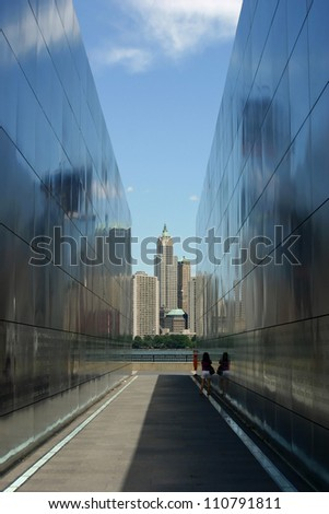 A view of the Manhattan skyline through the 9-11 Memorial in Liberty State Park, NJ - stock photo