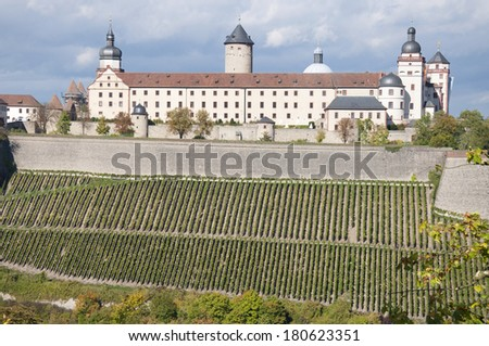 A view of the Marienberg Fortress or Festung Marienberg in Autumn - stock photo