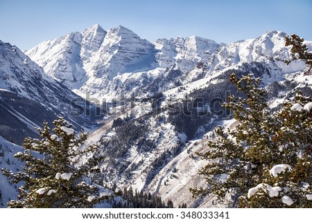 A view of the Maroon Valley landscape looking towards the two mountains of the Maroon Bells in Pitkin Country. - stock photo