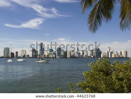 A view of the Miami skyline as seen from across Biscayne Bay - stock photo