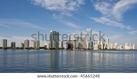 A view of the Miami skyline from across Biscayne Bay. - stock photo