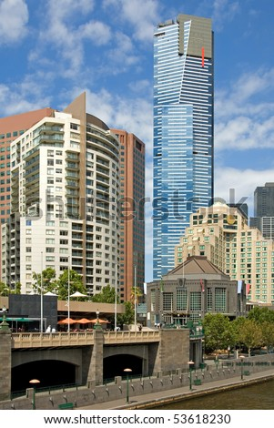 A view of the mighty Eureka Tower, Melbourne, Australia - stock photo