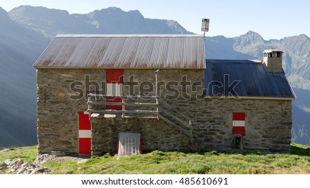 a view of the mountain hut Volta in the valley of Ratti, Lombardy, Italy.