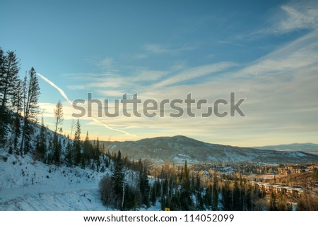 A View of the Mountains in Steamboat, Colorado in the Winter - stock photo