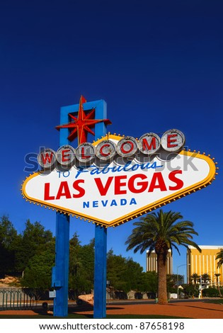 A view of the original Las Vegas Welcome sign - stock photo