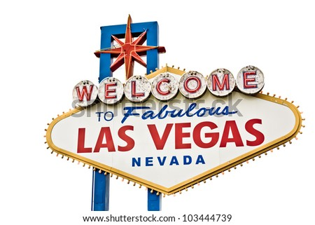 A view of the original Las Vegas Welcome sign isolated on white - stock photo