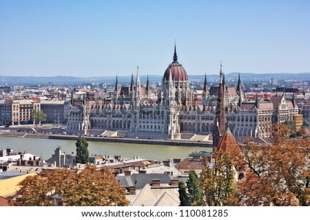 A view of the Parliament from the Fishermen's Bastion located in the Buda part of the city of Budapest, Hungary - stock photo