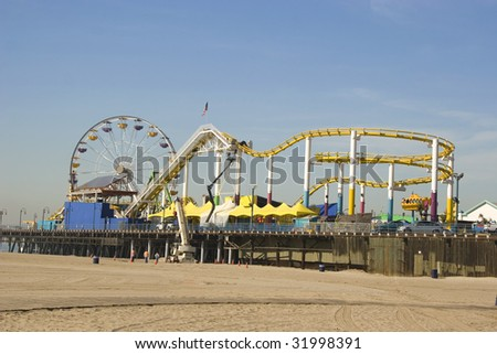 A view of the Pier from the south side beach in Santa Monica. - stock photo