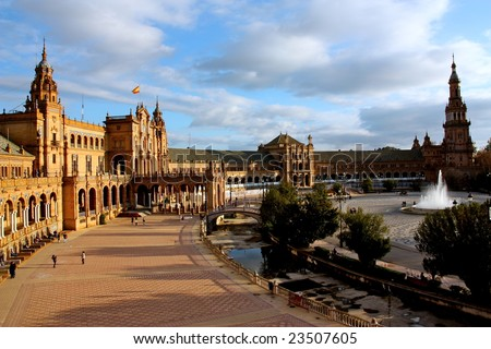 A view of the Plaza de Espana in Seville, Spain - stock photo