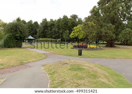A view of the public gardens in Alton town park in Hampshire.