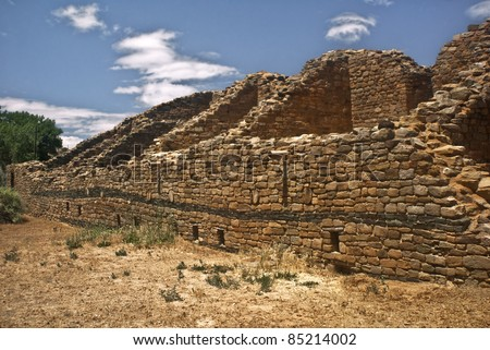 A view of the Pueblo ruins at Aztec National Monument in New Mexico - stock photo