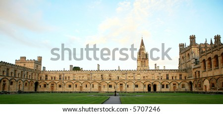 A view of the quad and buildings of Christ Church  College, Oxford - stock photo