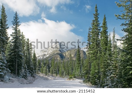 a view of the road leading to Lake Louise, Alberta, Canada - stock photo
