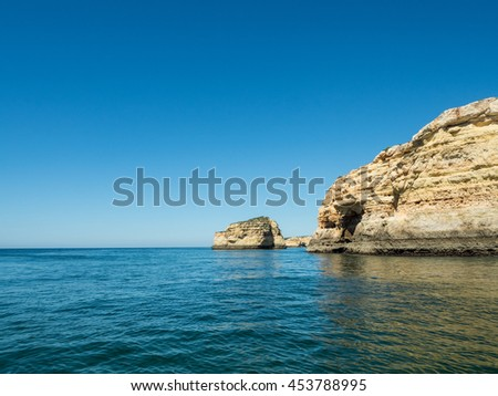 A view of the rocks on the sea near the Algarve coast in Portugal, 2016 - stock photo