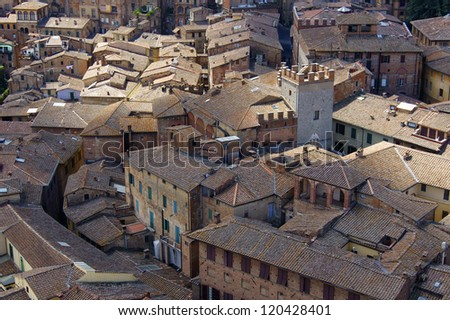 A view of the roofs of the medieval city of Siena (Italy) from a height