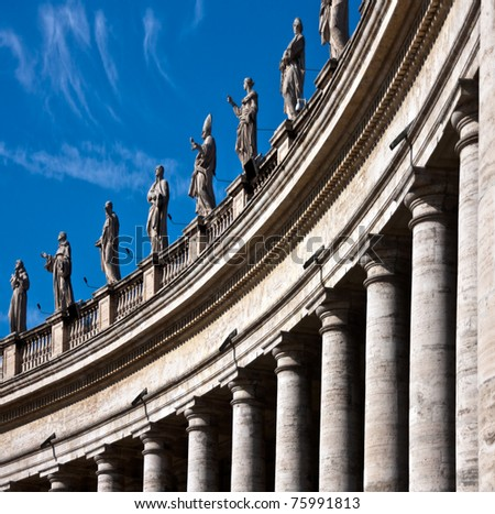 A view of the several statues adorning St Peter's square, Rome, Italy - stock photo