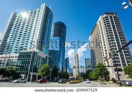 A view of the skyline of Buckhead, the uptown section of Atlanta, Georgia. - stock photo