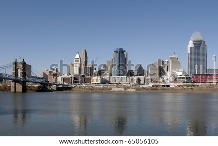 A view of the skyline of Cincinnati, Ohio. - stock photo