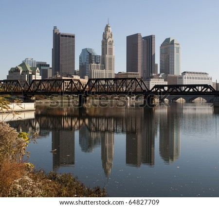 A view of the skyline of Columbus, Ohio. - stock photo
