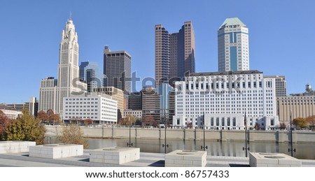 A view of the skyline of Columbus, Ohio, from across the Scioto River. - stock photo