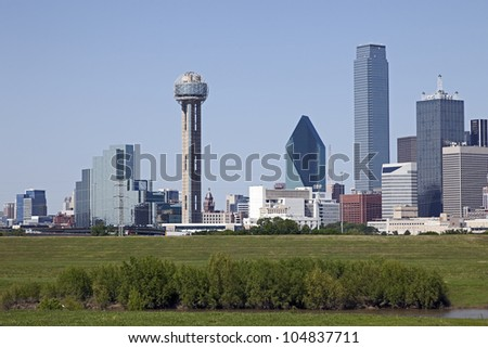 A View of the Skyline of Dallas, Texas, USA. - stock photo