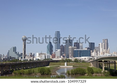 A View of the Skyline of Dallas, Texas, USA - stock photo