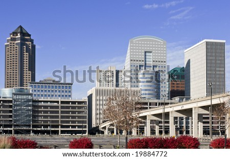 A view of the skyline of Des Moines Iowa - stock photo